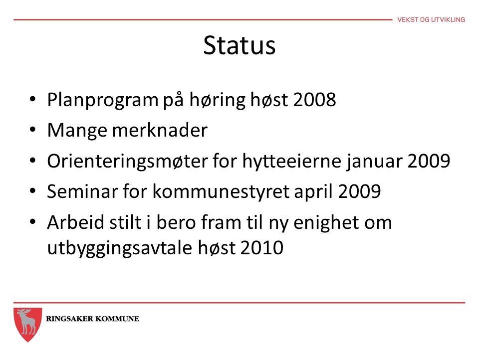 Status • Planprogram på høring høst 2008 • Mange merknader • Orienteringsmøter for hytteeierne januar 2009 • Seminar for kommunestyret april 2009 • Ar