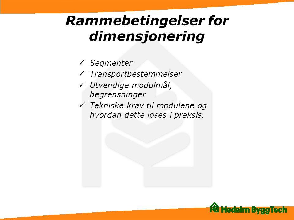 Rammebetingelser for dimensjonering  Segmenter  Transportbestemmelser  Utvendige modulmål, begrensninger  Tekniske krav til modulene og hvordan de