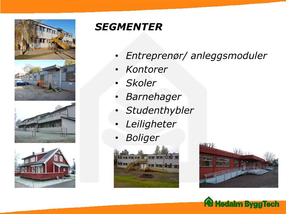 SEGMENTER • Entreprenør/ anleggsmoduler • Kontorer • Skoler • Barnehager • Studenthybler • Leiligheter • Boliger