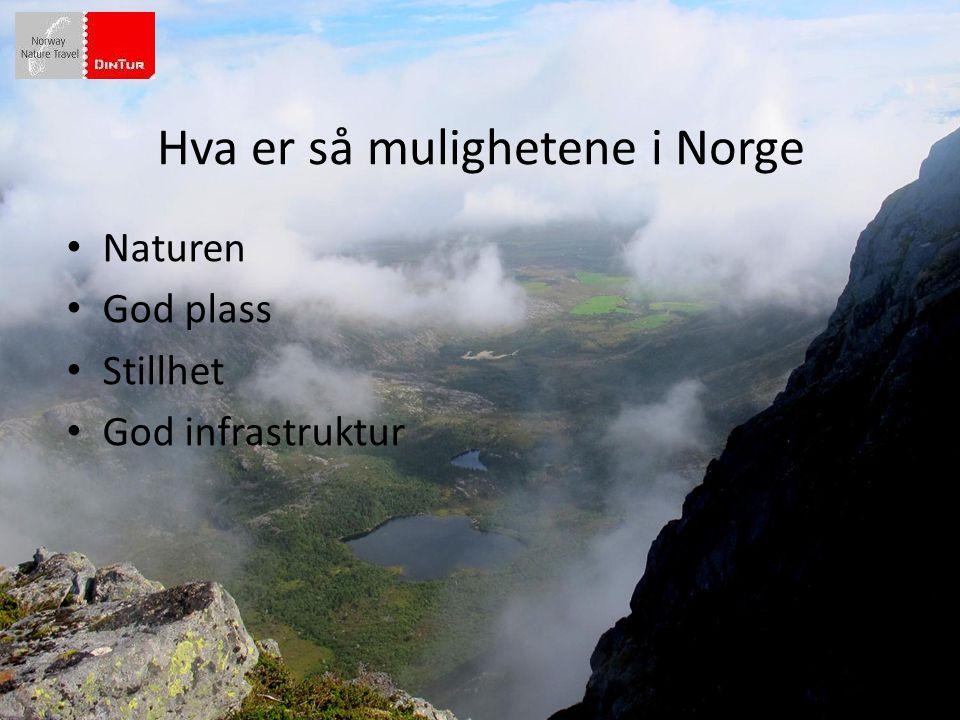 Hva er så mulighetene i Norge • Naturen • God plass • Stillhet • God infrastruktur