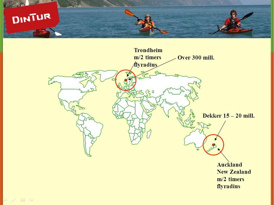 Auckland New Zealand m/2 timers flyradius Trondheim m/2 timers flyradius Dekker 15 – 20 mill. Over 300 mill.