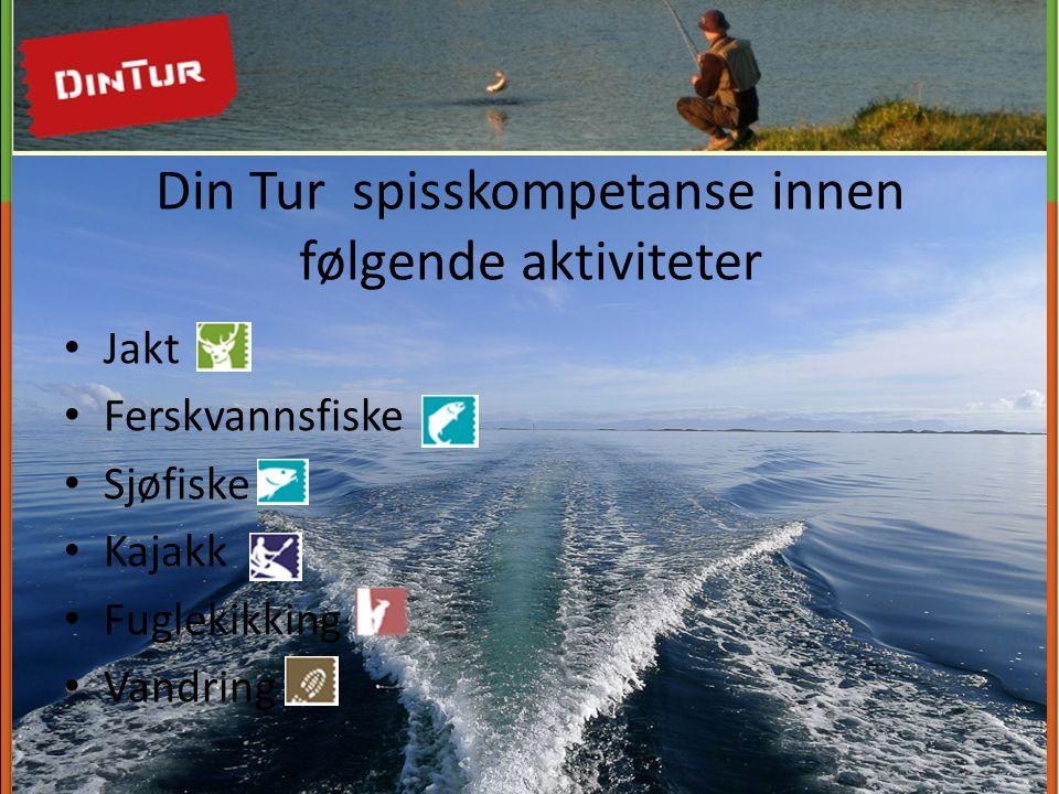 Din Tur spisskompetanse innen følgende aktiviteter • Jakt • Ferskvannsfiske • Sjøfiske • Kajakk • Fuglekikking • Vandring