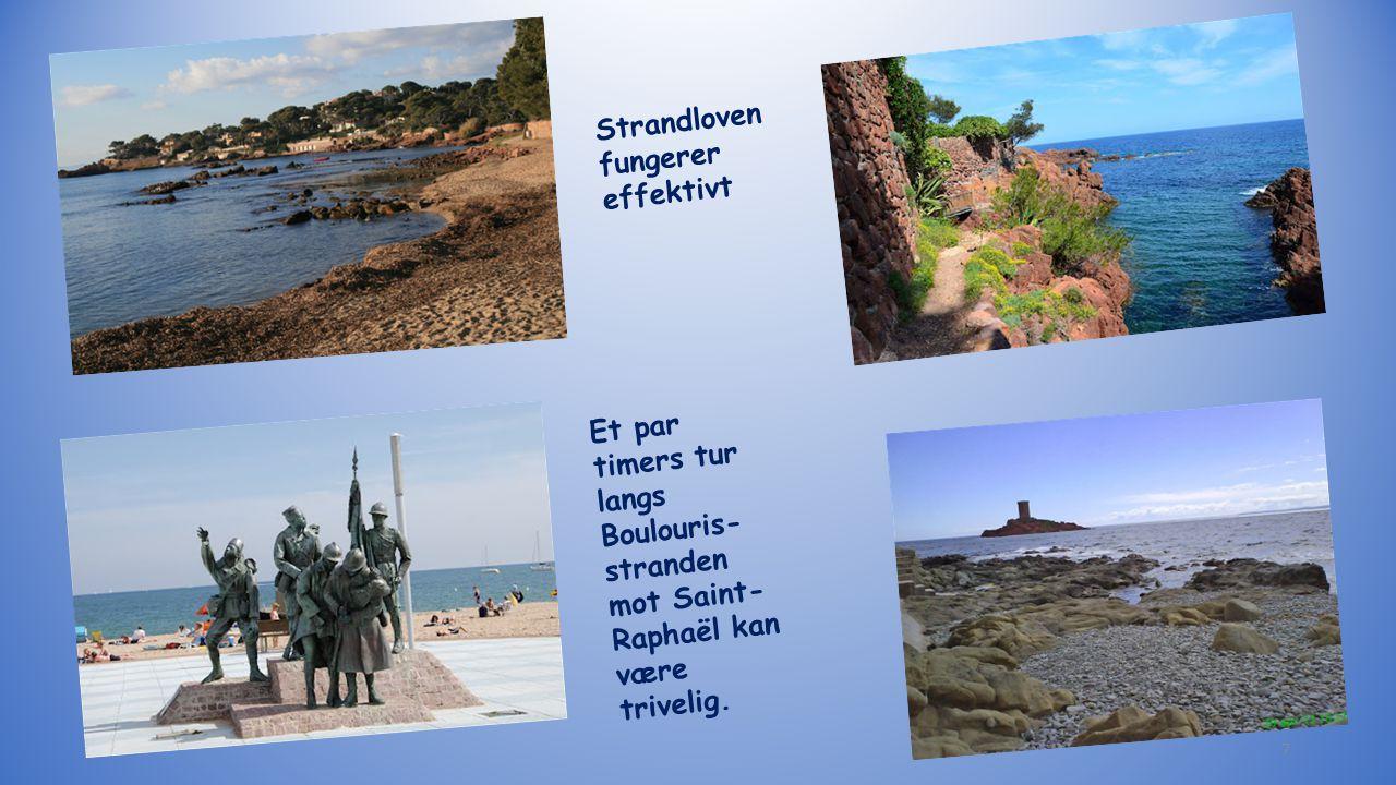 Et par timers tur langs Boulouris- stranden mot Saint- Raphaël kan være trivelig. Strandloven fungerer effektivt 7
