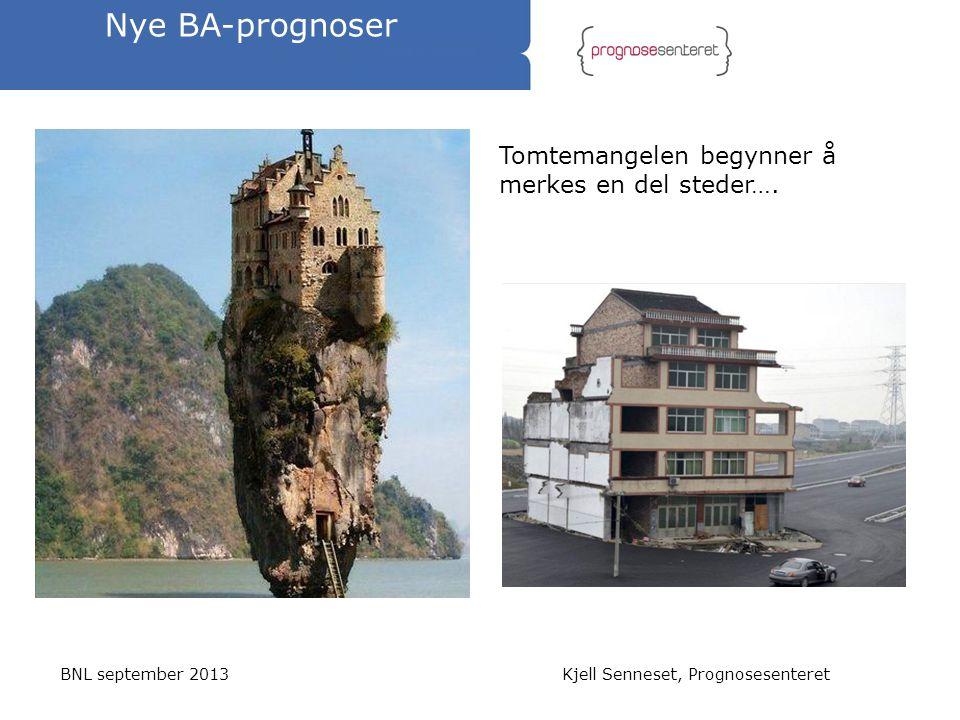Nye BA-prognoser BNL september 2013Kjell Senneset, Prognosesenteret Tomtemangelen begynner å merkes en del steder….