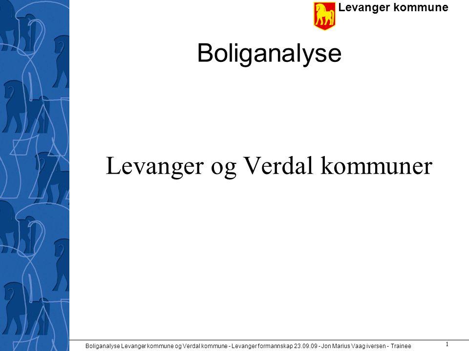 Levanger kommune Boliganalyse Levanger kommune og Verdal kommune - Levanger formannskap 23.09.09 - Jon Marius Vaag iversen - Trainee 2 Datamateriale •Folke- og boligtellingene fra 2001 og tidligere.