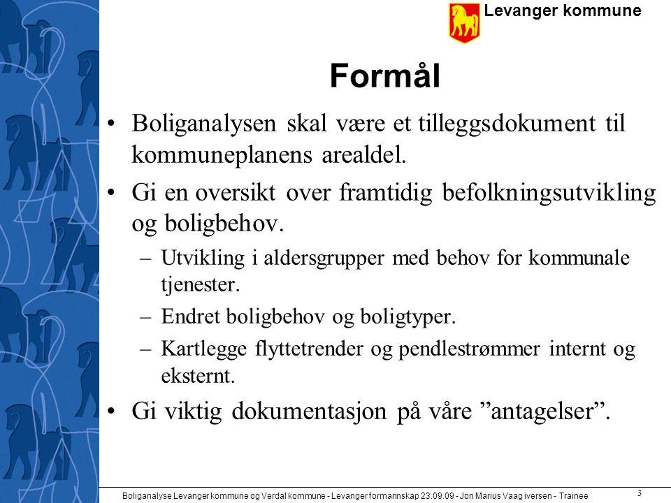 Levanger kommune Boliganalyse Levanger kommune og Verdal kommune - Levanger formannskap 23.09.09 - Jon Marius Vaag iversen - Trainee 3 Formål •Boliganalysen skal være et tilleggsdokument til kommuneplanens arealdel.