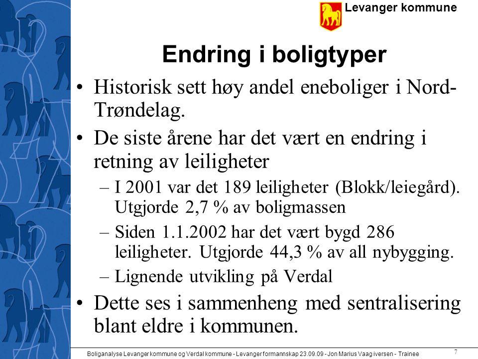 Levanger kommune Boliganalyse Levanger kommune og Verdal kommune - Levanger formannskap 23.09.09 - Jon Marius Vaag iversen - Trainee 8 Framtidig boligbehov •I 2001 var det ca 2,5 personer per bolig •SSB's middelprognose tilsier en befolkningsøkning på 2140 i Levanger fram mot 2020.