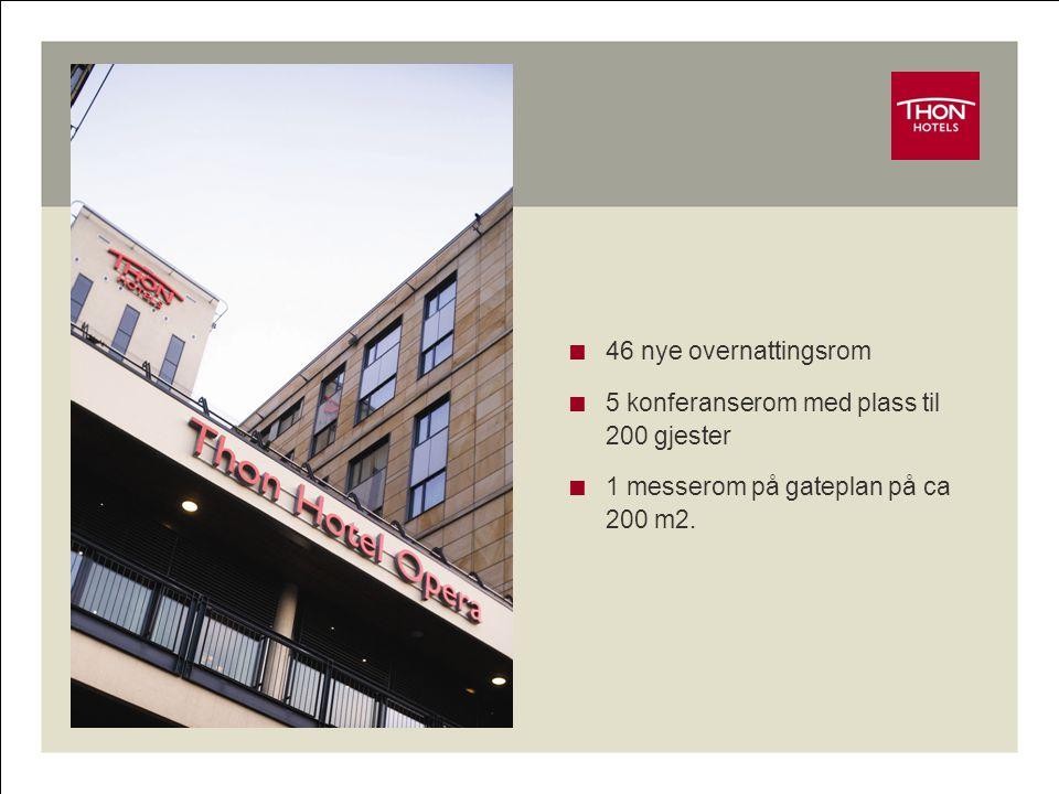  46 nye overnattingsrom  5 konferanserom med plass til 200 gjester  1 messerom på gateplan på ca 200 m2.