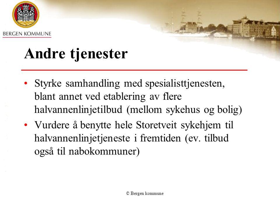 © Bergen kommune Utfordringer •Økt press på tjenestene •Rekruttering •Økt kompleksitet – og krav til kompetanse •Flere yngre brukere •Innvandrere og minoritetsgrupper trenger tilbud •Utviklingshemmede blir eldre