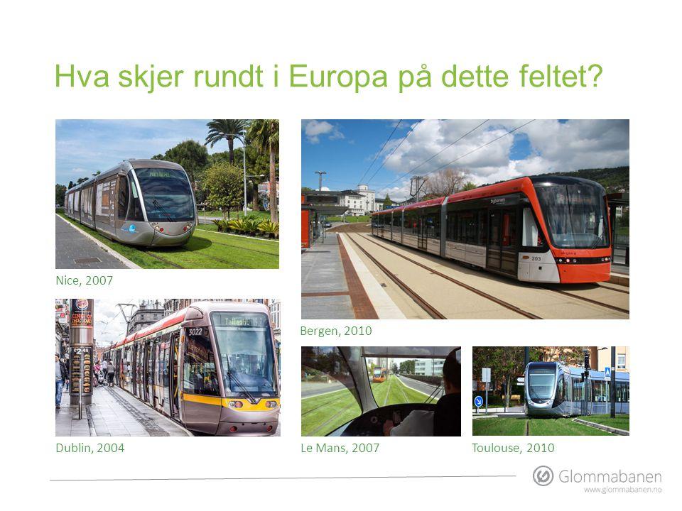 Hva skjer rundt i Europa på dette feltet? Nice, 2007 Dublin, 2004Le Mans, 2007 Bergen, 2010 Toulouse, 2010