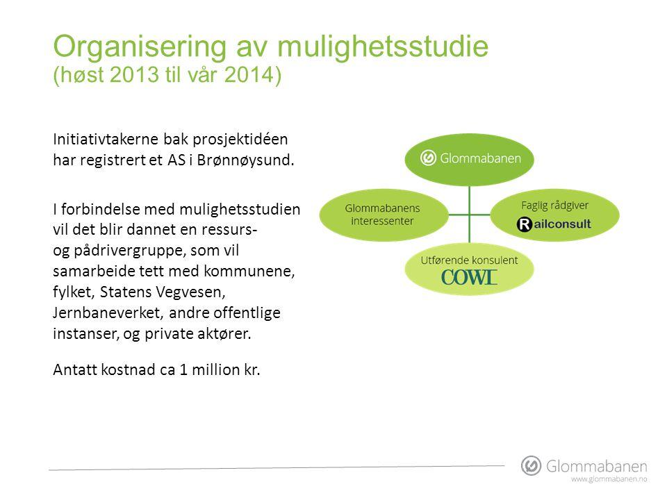 Organisering av mulighetsstudie (høst 2013 til vår 2014) Initiativtakerne bak prosjektidéen har registrert et AS i Brønnøysund. I forbindelse med muli