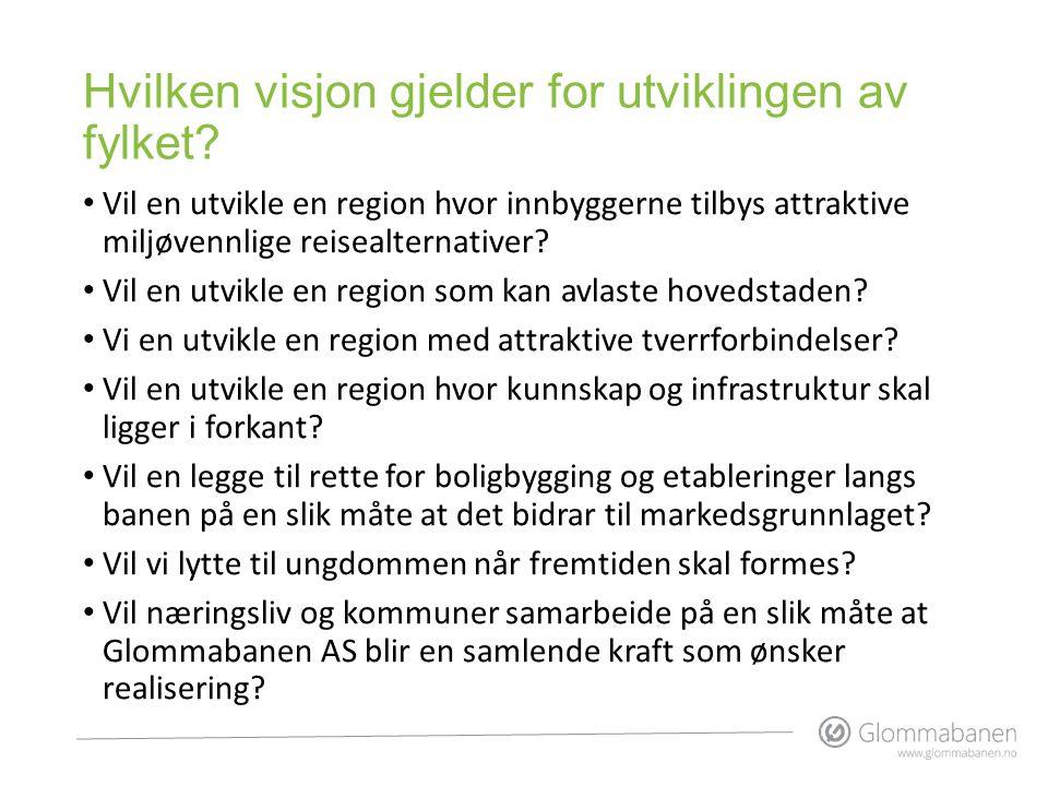 Hvilken visjon gjelder for utviklingen av fylket? • Vil en utvikle en region hvor innbyggerne tilbys attraktive miljøvennlige reisealternativer? • Vil