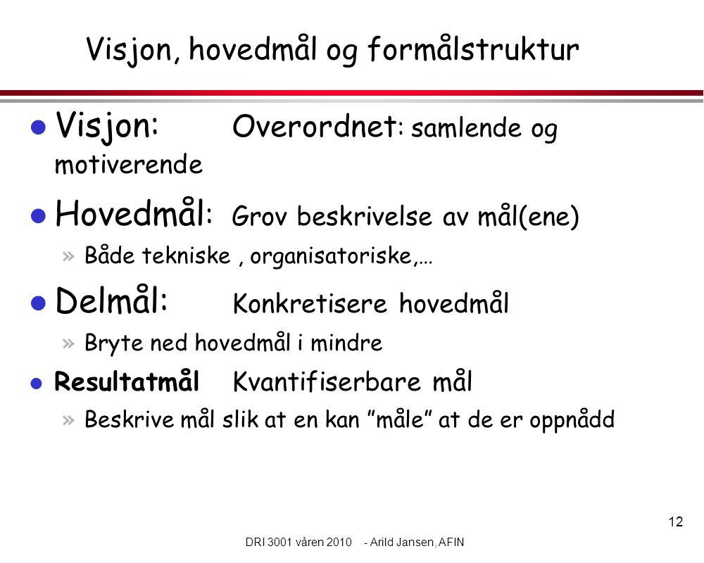 12 DRI 3001 våren 2010 - Arild Jansen, AFIN Visjon, hovedmål og formålstruktur l Visjon: Overordnet : samlende og motiverende l Hovedmål : Grov beskrivelse av mål(ene) »Både tekniske, organisatoriske,… l Delmål: Konkretisere hovedmål »Bryte ned hovedmål i mindre l Resultatmål Kvantifiserbare mål »Beskrive mål slik at en kan måle at de er oppnådd