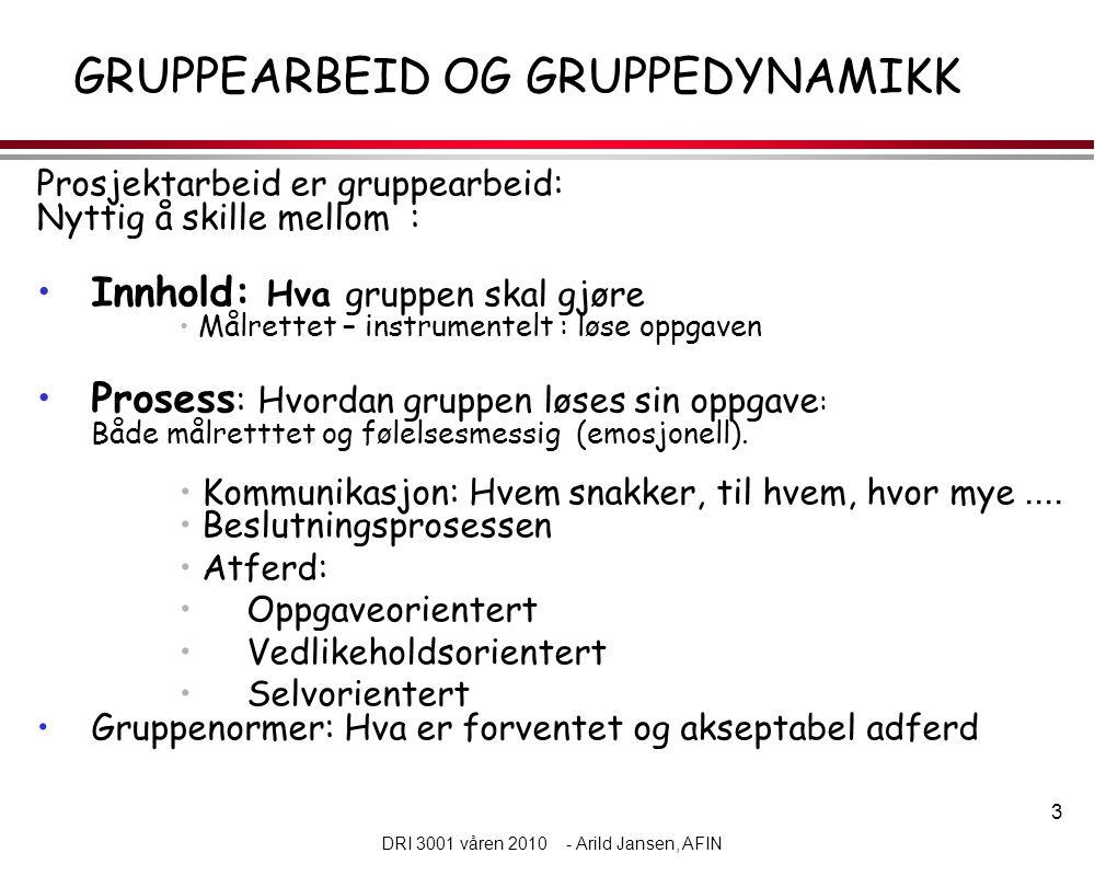 3 DRI 3001 våren 2010 - Arild Jansen, AFIN GRUPPEARBEID OG GRUPPEDYNAMIKK Prosjektarbeid er gruppearbeid: Nyttig å skille mellom : •Innhold: Hva grupp