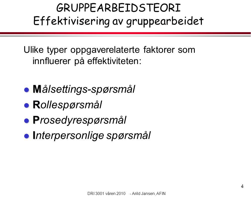 4 DRI 3001 våren 2010 - Arild Jansen, AFIN GRUPPEARBEIDSTEORI Effektivisering av gruppearbeidet Ulike typer oppgaverelaterte faktorer som innfluerer på effektiviteten:  M  Målsettings-spørsmål  R  Rollespørsmål  P  Prosedyrespørsmål  I  Interpersonlige spørsmål