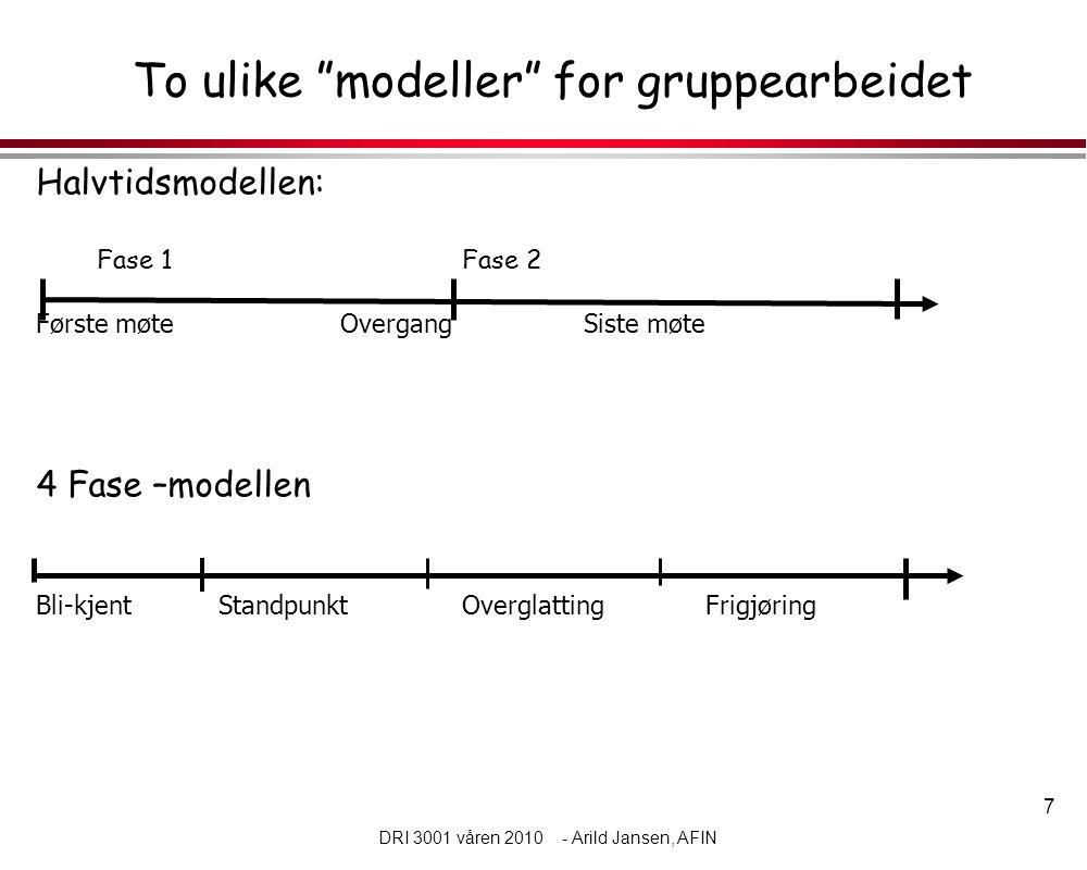 7 DRI 3001 våren 2010 - Arild Jansen, AFIN To ulike modeller for gruppearbeidet Halvtidsmodellen: Fase 1Fase 2 Første møteOvergangSiste møte 4 Fase –modellen Bli-kjentStandpunktOverglattingFrigjøring