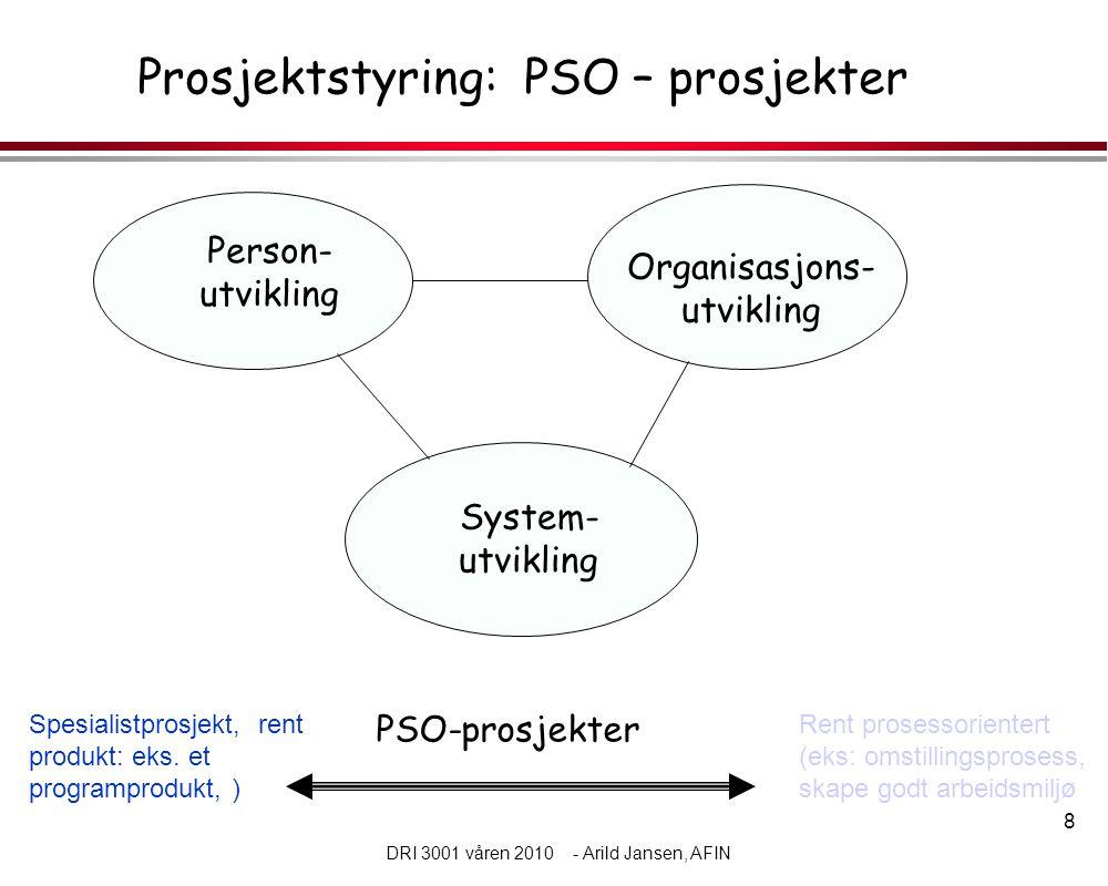 8 DRI 3001 våren 2010 - Arild Jansen, AFIN Prosjektstyring: PSO – prosjekter Person- utvikling Organisasjons- utvikling System- utvikling Spesialistprosjekt, rent produkt: eks.
