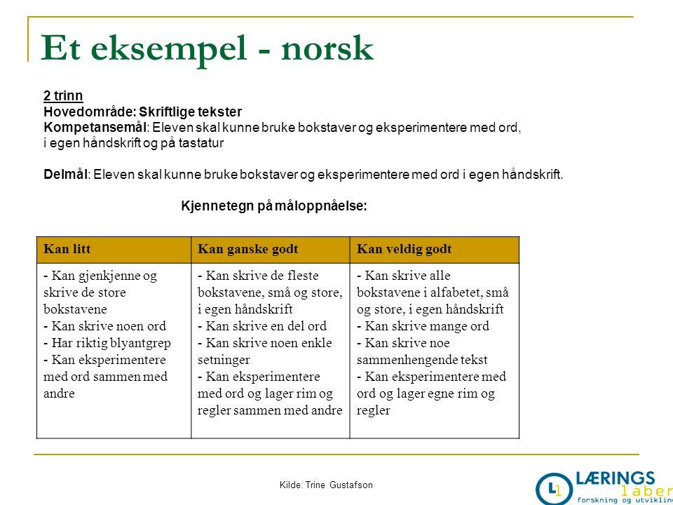 Et eksempel - norsk 2 trinn Hovedområde: Skriftlige tekster Kompetansemål: Eleven skal kunne bruke bokstaver og eksperimentere med ord, i egen håndskr