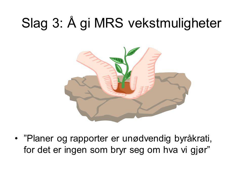 Slag 3: Å gi MRS vekstmuligheter • Planer og rapporter er unødvendig byråkrati, for det er ingen som bryr seg om hva vi gjør