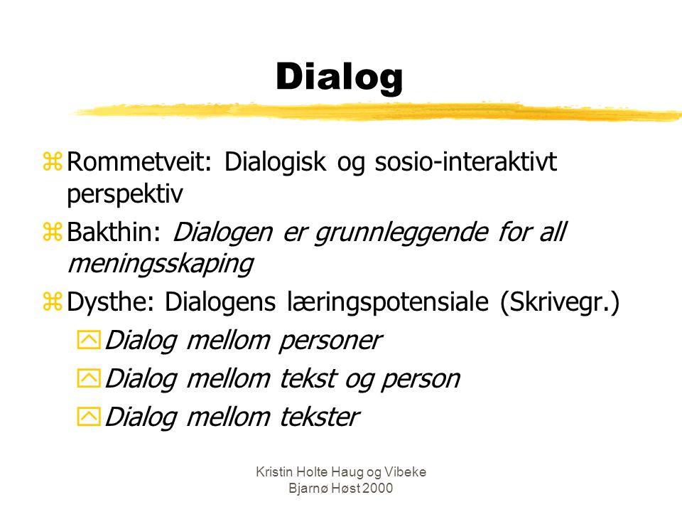 Kristin Holte Haug og Vibeke Bjarnø Høst 2000 Hvordan foregår læring.