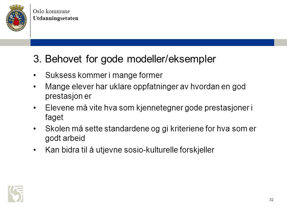 Oslo kommune Utdanningsetaten 32 3. Behovet for gode modeller/eksempler •Suksess kommer i mange former •Mange elever har uklare oppfatninger av hvorda