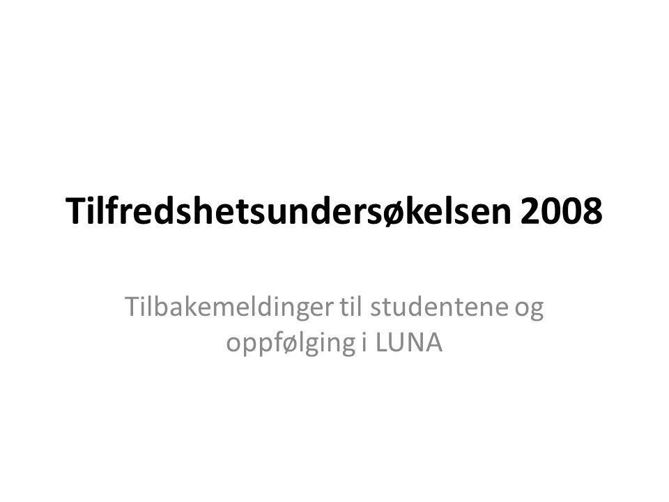 Tilfredshetsundersøkelsen 2008 Tilbakemeldinger til studentene og oppfølging i LUNA