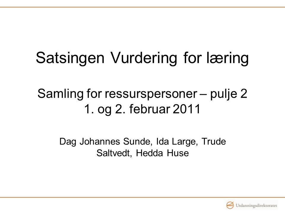Satsingen Vurdering for læring Samling for ressurspersoner – pulje 2 1.