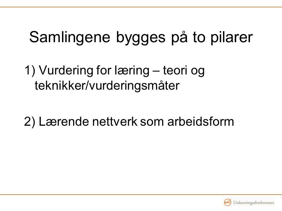 Samlingene bygges på to pilarer 1) Vurdering for læring – teori og teknikker/vurderingsmåter 2) Lærende nettverk som arbeidsform