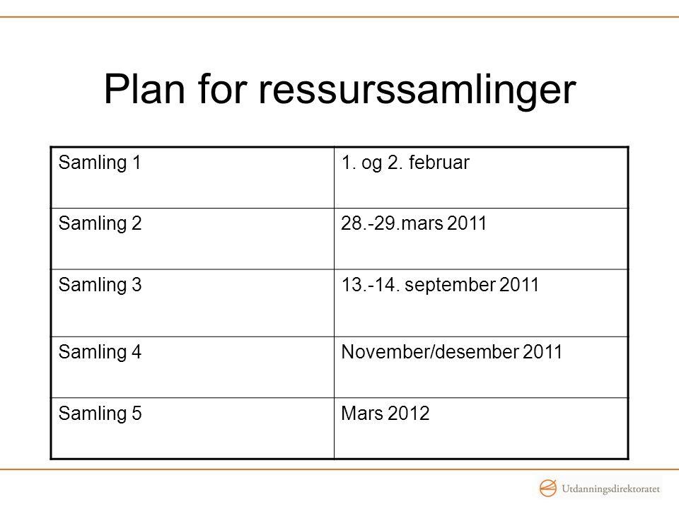 Plan for ressurssamlinger Samling 11.og 2. februar Samling 228.-29.mars 2011 Samling 313.-14.