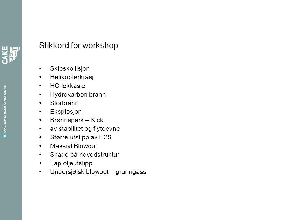 Stikkord for workshop •Skipskollisjon •Helikopterkrasj •HC lekkasje •Hydrokarbon brann •Storbrann •Eksplosjon •Brønnspark – Kick •av stabilitet og fly