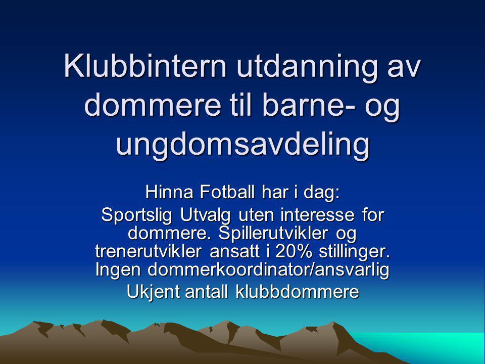 Klubbintern utdanning av dommere til barne- og ungdomsavdeling Hinna Fotball har i dag: Sportslig Utvalg uten interesse for dommere.