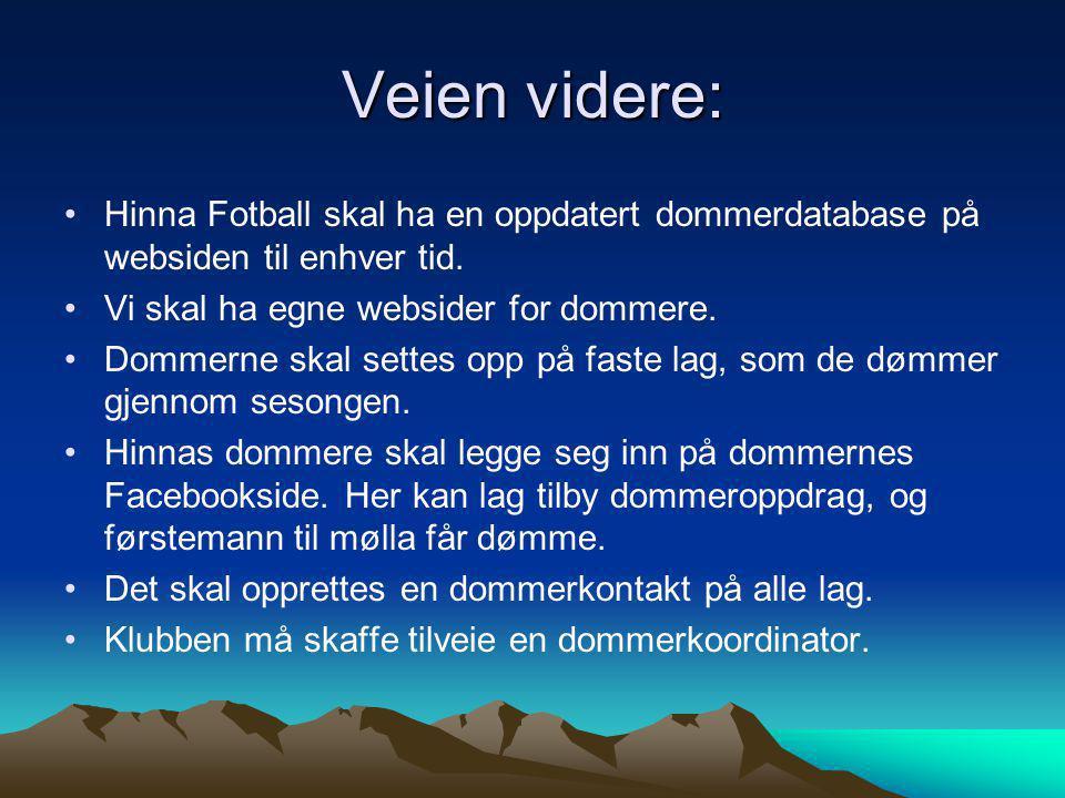 Veien videre: •Hinna Fotball skal ha en oppdatert dommerdatabase på websiden til enhver tid.