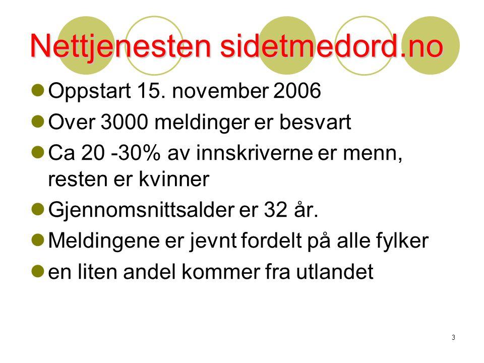 3 Nettjenesten sidetmedord.no  Oppstart 15. november 2006  Over 3000 meldinger er besvart  Ca 20 -30% av innskriverne er menn, resten er kvinner 