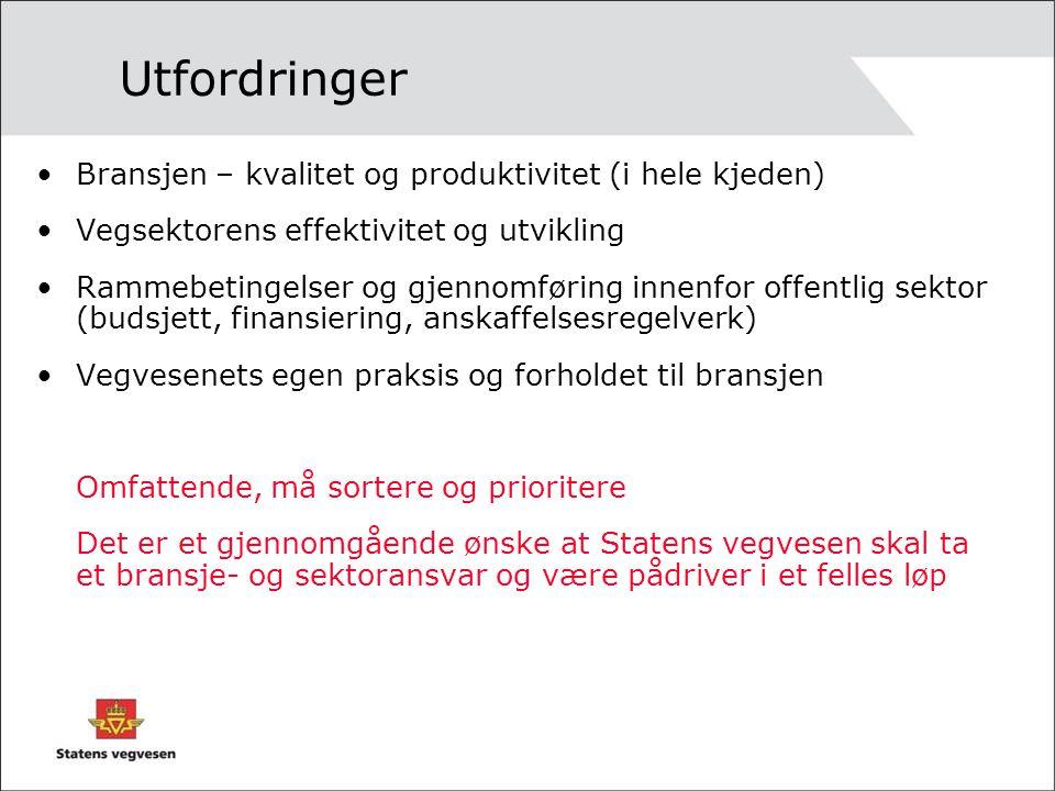 Utfordringer •Bransjen – kvalitet og produktivitet (i hele kjeden) •Vegsektorens effektivitet og utvikling •Rammebetingelser og gjennomføring innenfor