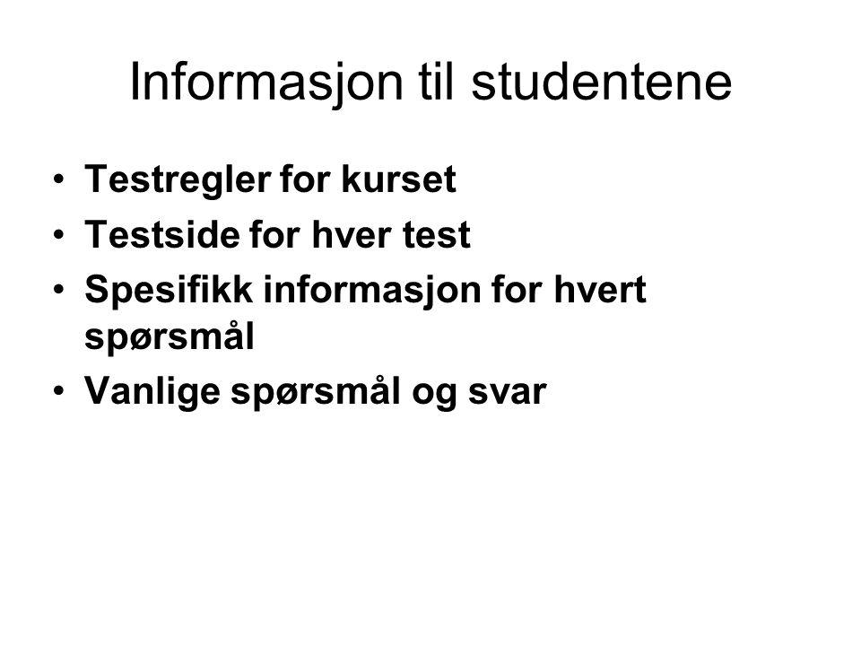 Informasjon til studentene •Testregler for kurset •Testside for hver test •Spesifikk informasjon for hvert spørsmål •Vanlige spørsmål og svar