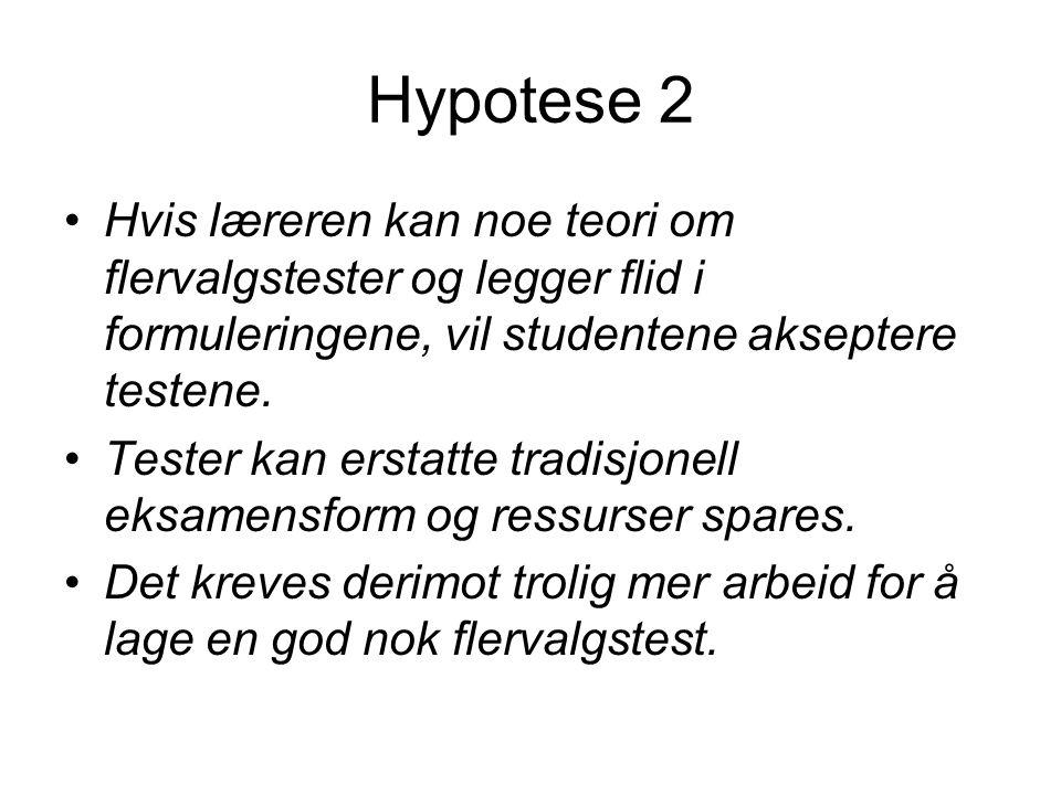 Hypotese 2 •Hvis læreren kan noe teori om flervalgstester og legger flid i formuleringene, vil studentene akseptere testene.