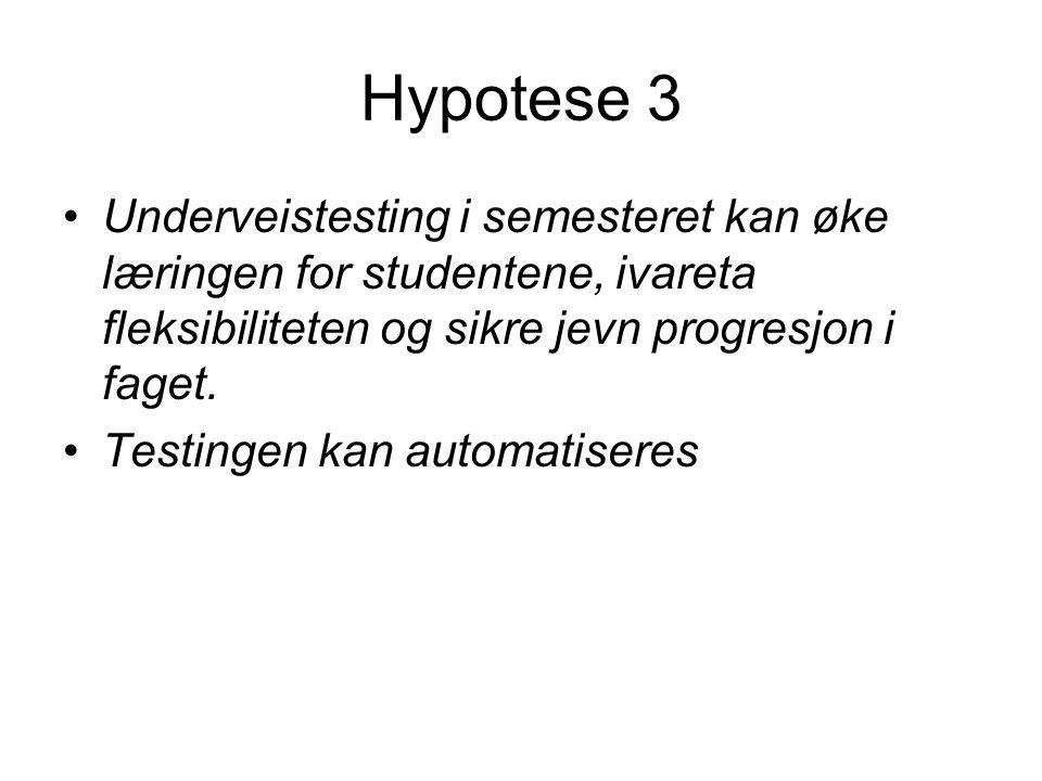 Hypotese 3 •Underveistesting i semesteret kan øke læringen for studentene, ivareta fleksibiliteten og sikre jevn progresjon i faget.