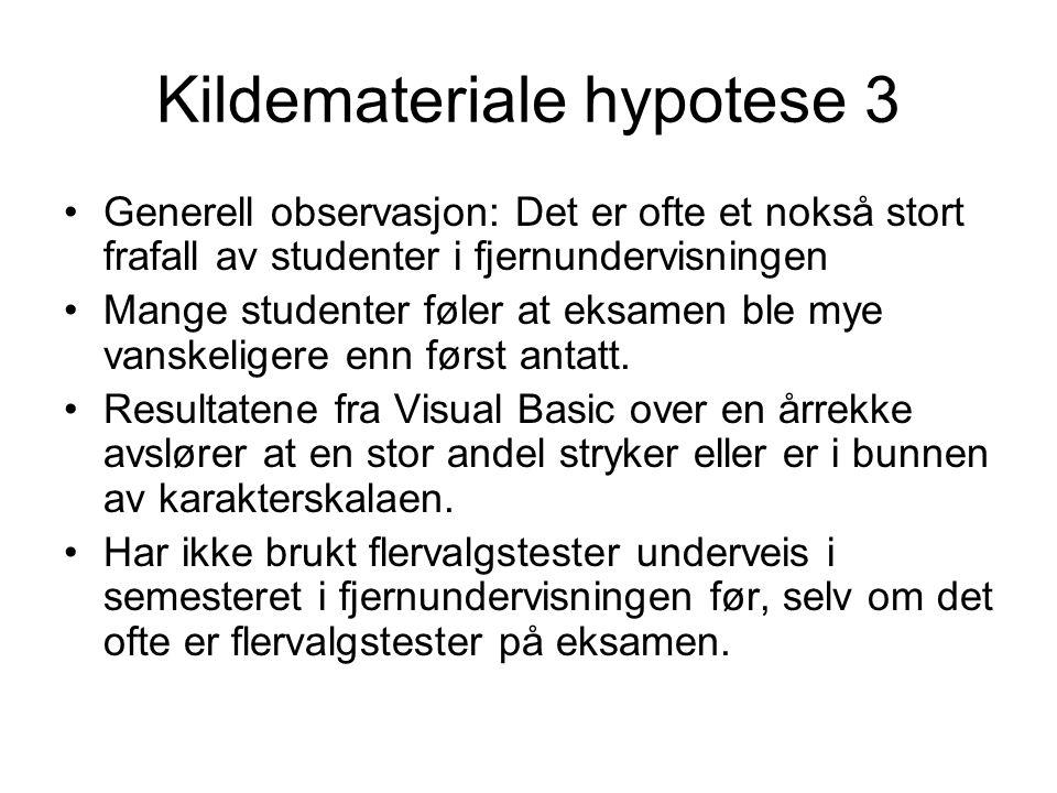 Kildemateriale hypotese 3 •Generell observasjon: Det er ofte et nokså stort frafall av studenter i fjernundervisningen •Mange studenter føler at eksamen ble mye vanskeligere enn først antatt.