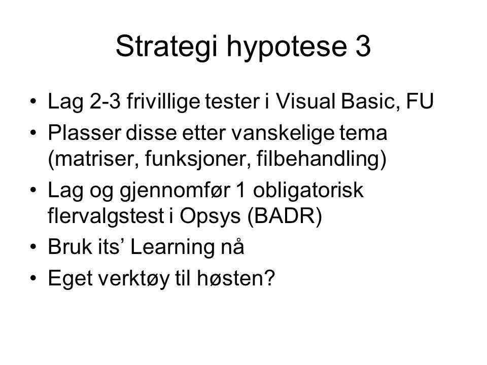 Strategi hypotese 3 •Lag 2-3 frivillige tester i Visual Basic, FU •Plasser disse etter vanskelige tema (matriser, funksjoner, filbehandling) •Lag og gjennomfør 1 obligatorisk flervalgstest i Opsys (BADR) •Bruk its' Learning nå •Eget verktøy til høsten?