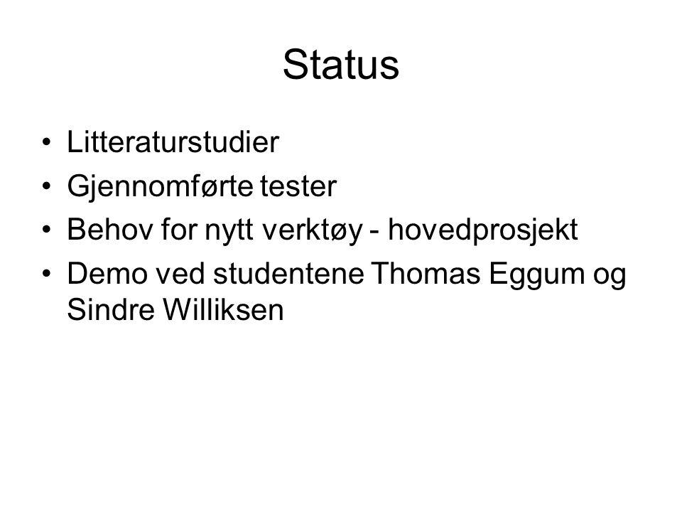 Status •Litteraturstudier •Gjennomførte tester •Behov for nytt verktøy - hovedprosjekt •Demo ved studentene Thomas Eggum og Sindre Williksen