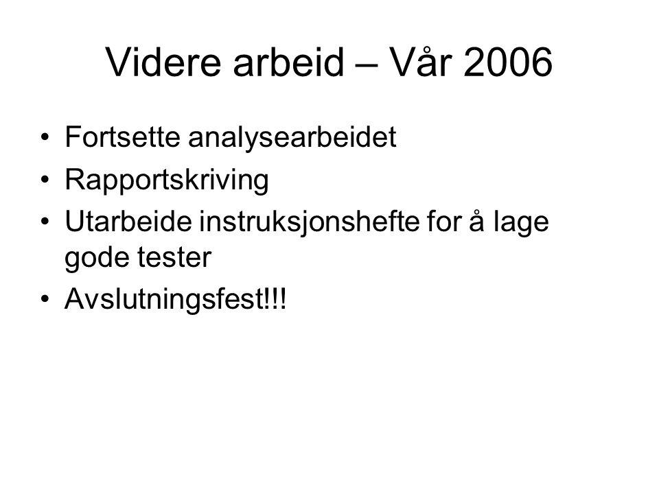 Videre arbeid – Vår 2006 •Fortsette analysearbeidet •Rapportskriving •Utarbeide instruksjonshefte for å lage gode tester •Avslutningsfest!!!