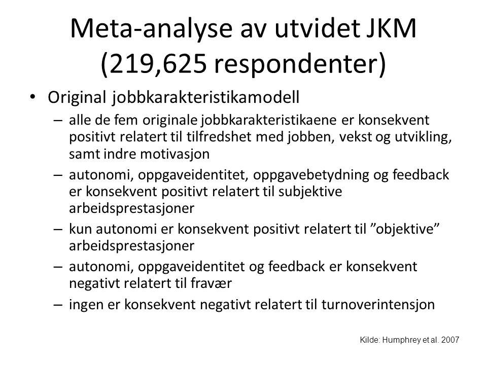 Meta-analyse av utvidet JKM (219,625 respondenter) • Original jobbkarakteristikamodell – alle de fem originale jobbkarakteristikaene er konsekvent pos