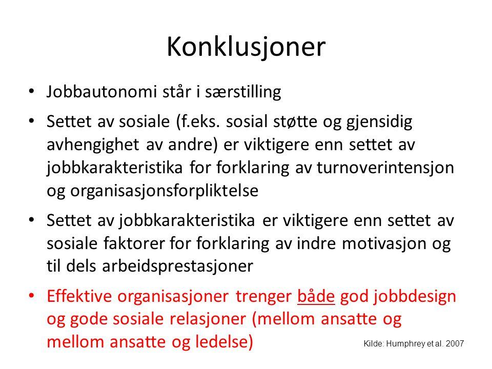 Konklusjoner • Jobbautonomi står i særstilling • Settet av sosiale (f.eks. sosial støtte og gjensidig avhengighet av andre) er viktigere enn settet av
