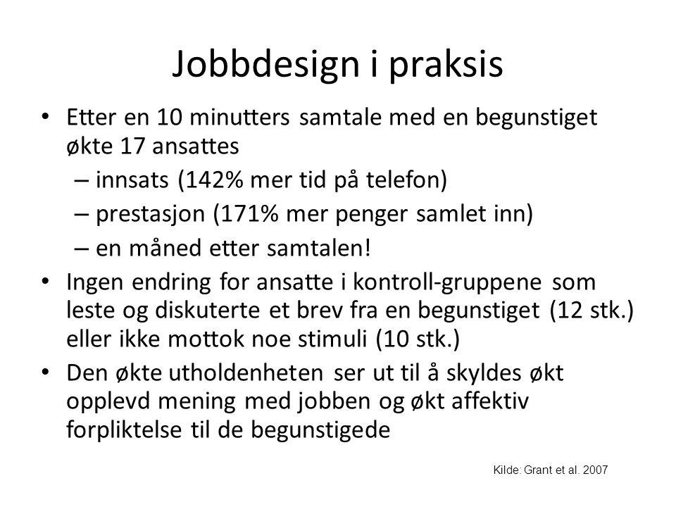 Jobbdesign i praksis • Etter en 10 minutters samtale med en begunstiget økte 17 ansattes – innsats (142% mer tid på telefon) – prestasjon (171% mer pe