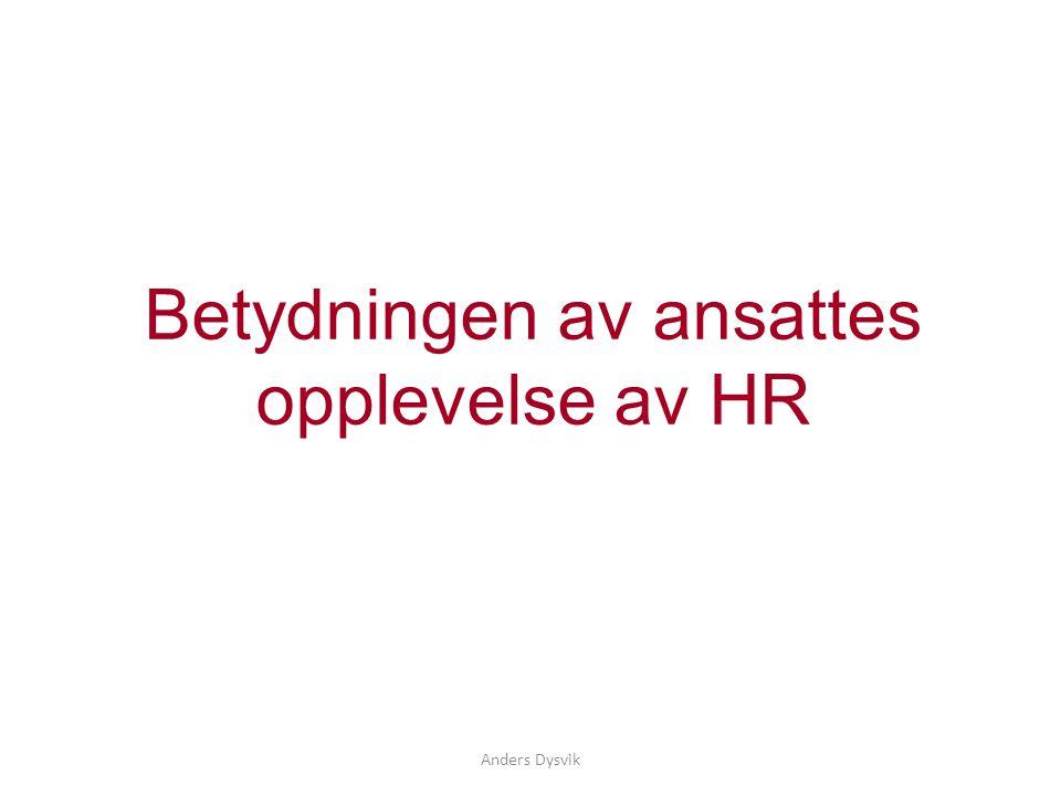 Anders Dysvik Betydningen av ansattes opplevelse av HR