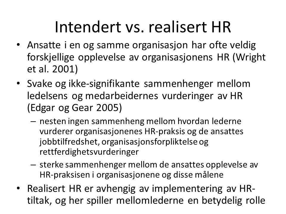 Intendert vs. realisert HR • Ansatte i en og samme organisasjon har ofte veldig forskjellige opplevelse av organisasjonens HR (Wright et al. 2001) • S