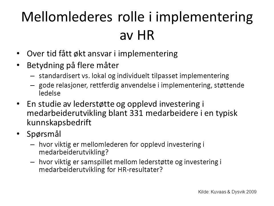 Mellomlederes rolle i implementering av HR • Over tid fått økt ansvar i implementering • Betydning på flere måter – standardisert vs. lokal og individ