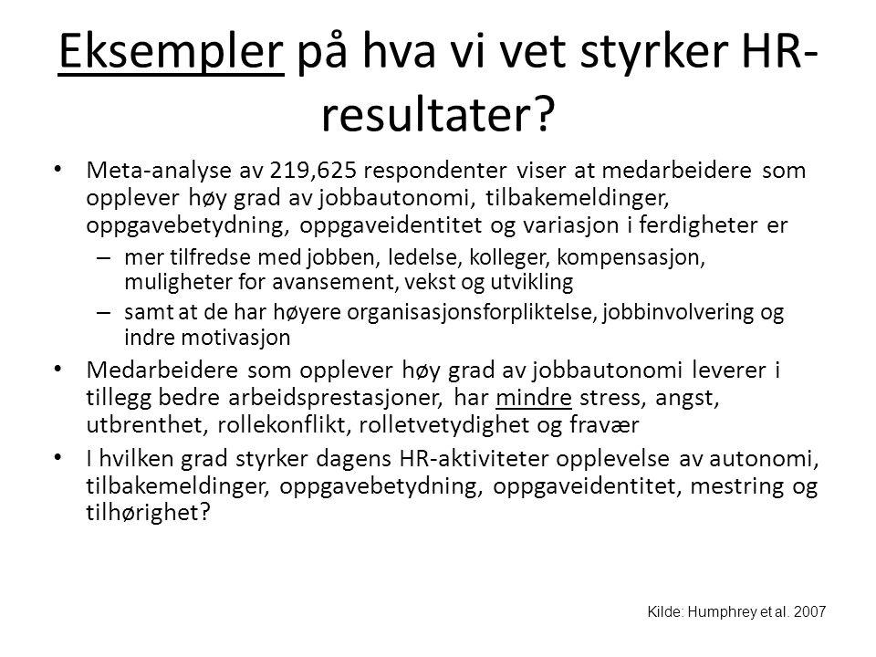Eksempler på hva vi vet styrker HR- resultater? • Meta-analyse av 219,625 respondenter viser at medarbeidere som opplever høy grad av jobbautonomi, ti