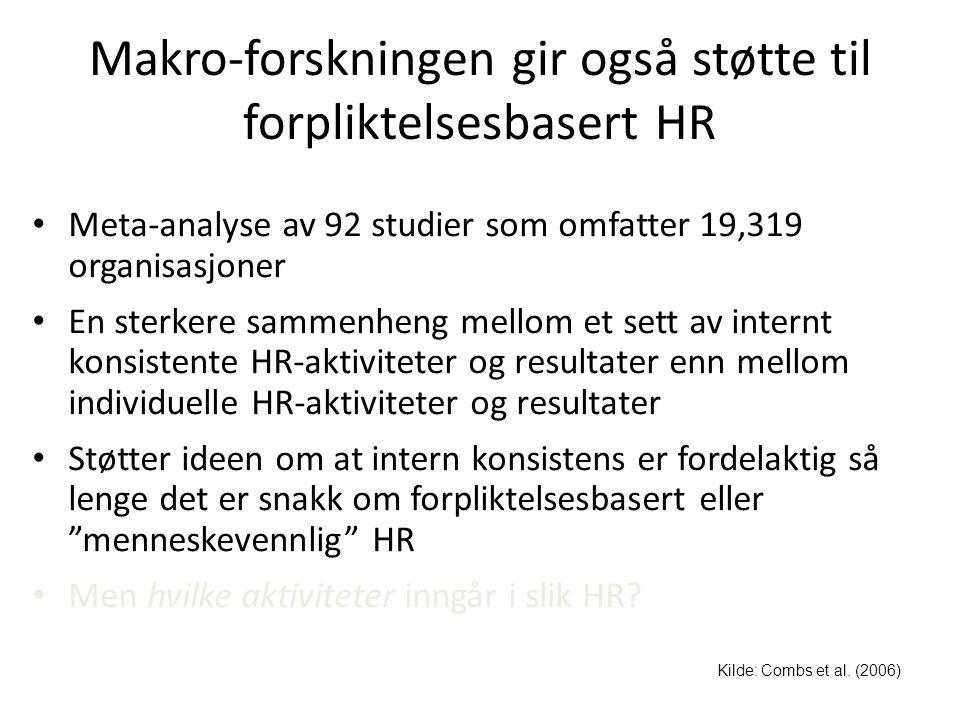 Makro-forskningen gir også støtte til forpliktelsesbasert HR • Meta-analyse av 92 studier som omfatter 19,319 organisasjoner • En sterkere sammenheng