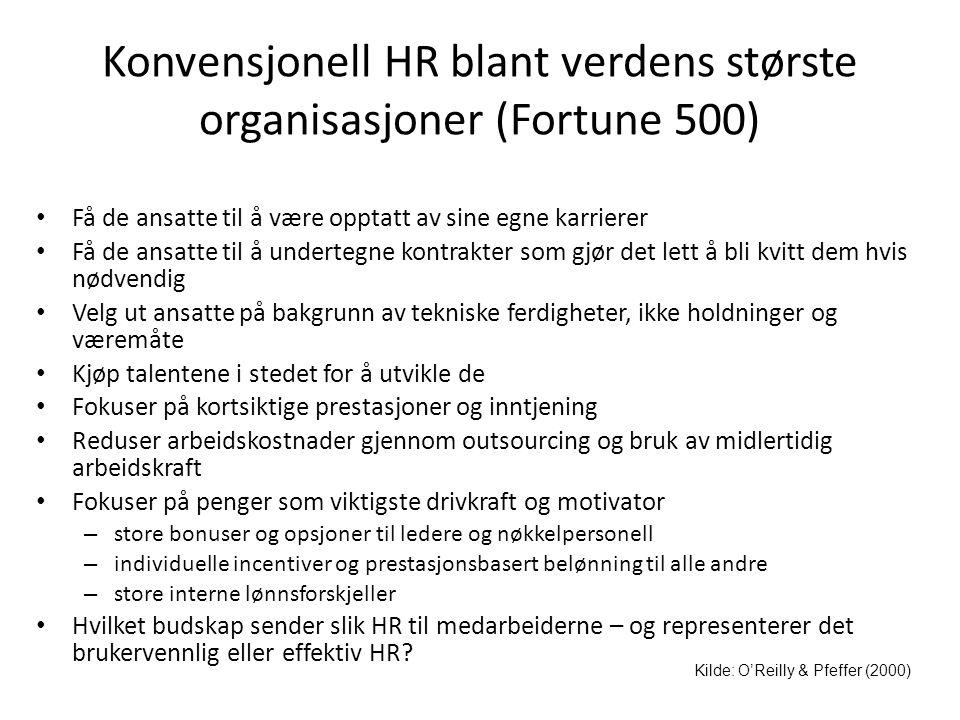 Konvensjonell HR blant verdens største organisasjoner (Fortune 500) • Få de ansatte til å være opptatt av sine egne karrierer • Få de ansatte til å un